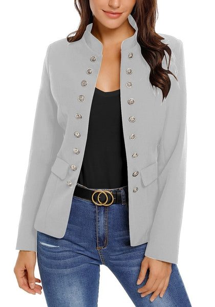 Front view of model wearing light grey stand collar open-front blazer