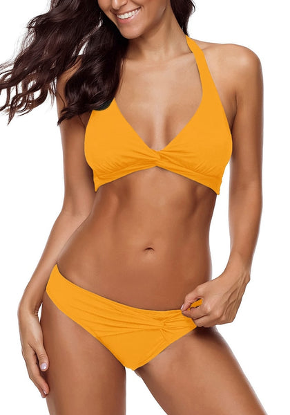 Mustard Yellow Ruched Tie-Back Halter Bikini Set