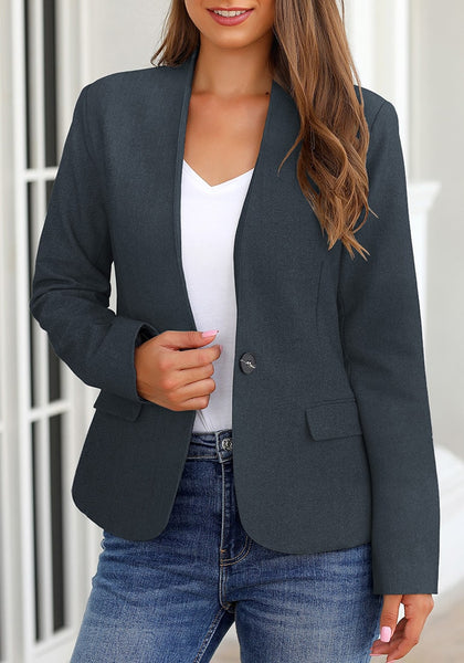 Front view of model wearing navy V-neckline single button blazer