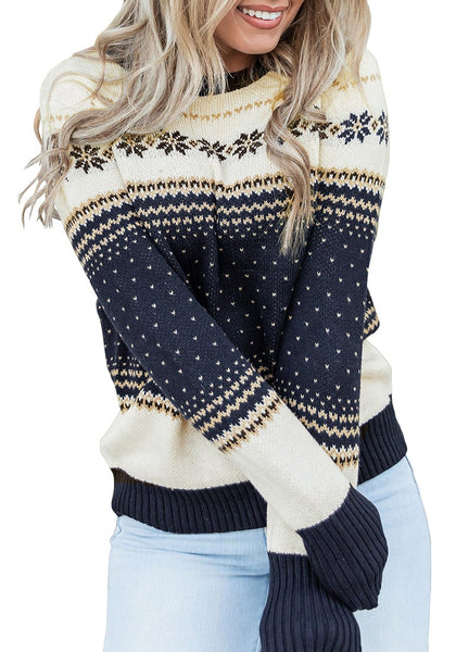 Front view of model wearing navy crew neck snowflake colorblock knit sweater