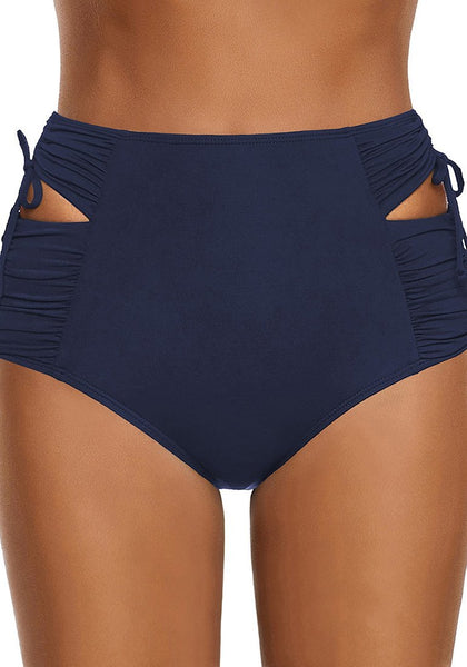 Front view of model wearing navy high-waist cutout drawstring ruched bikini bottom