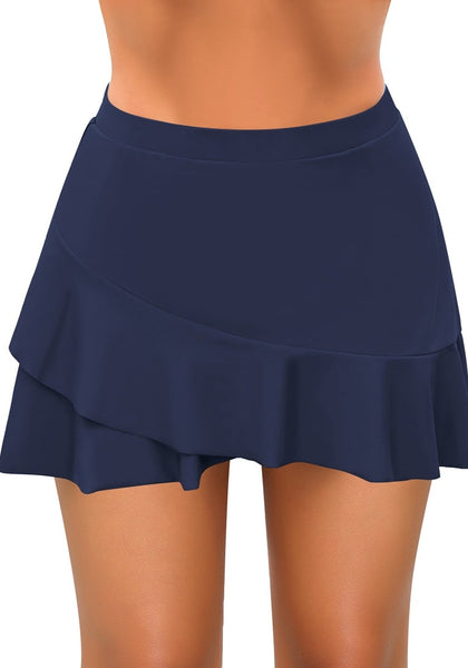 Navy High-Waist Tulip Hem Ruffle Swim Skirt
