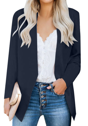 Navy Open-Front Side Pockets Blazer