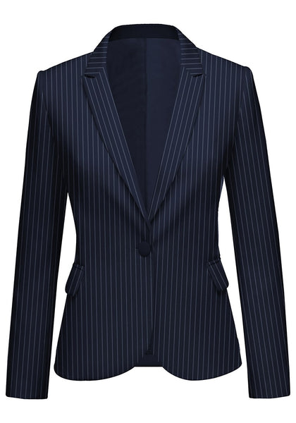 Front view of model wearing navy striped back-slit notched lapel blazer