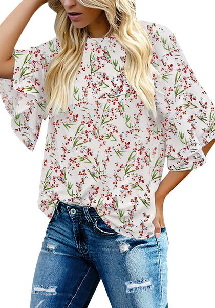 Front view of model wearing off-white trumpet sleeves keyhole-back printed blouse