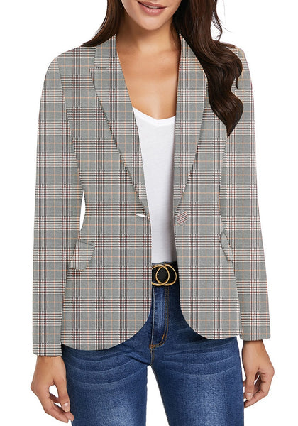 Front view of model wearing pink plaid back-slit notched lapel blazer