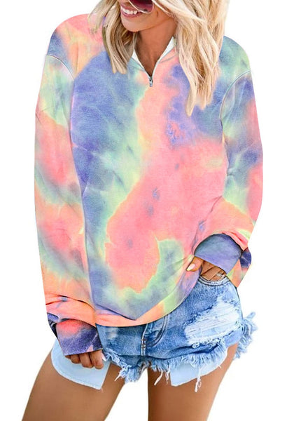Front view of model wearing pink stand collar half-zip tie-dye pullover sweatshirt