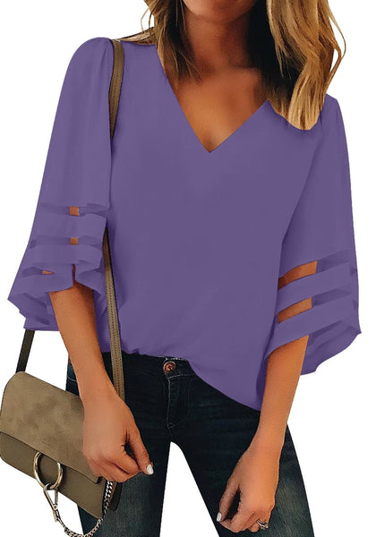 Front view of model wearing purple 34 bell mesh panel sleeves V-neckline loose top