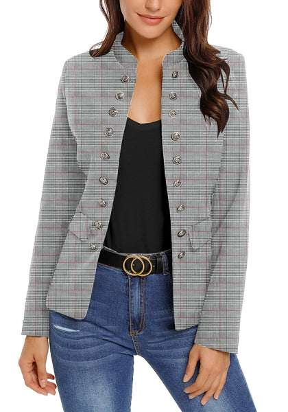 Front view of model wearing red plaid stand collar open-front blazer