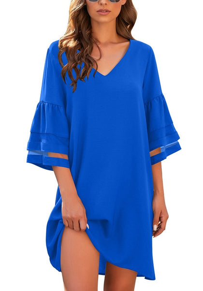 Front view of model wearing royal blue 3-4 mesh sleeves V-neck mini shift dress