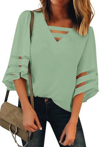 Sage Green 3/4 Bell Mesh Panel Sleeves Strappy V-Neckline Loose Top