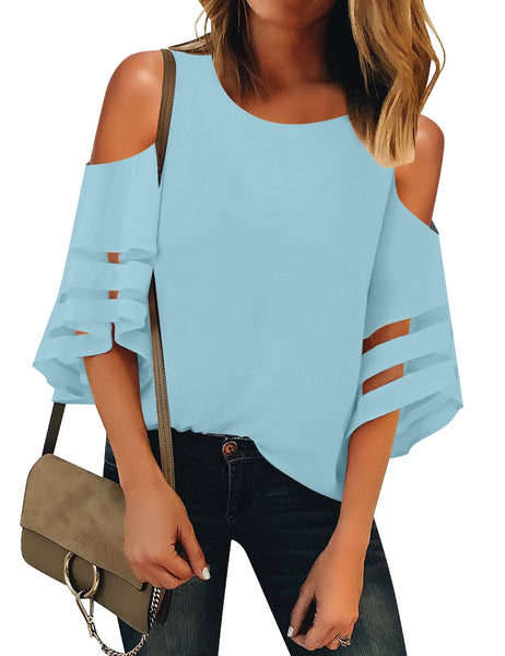 Front view of model wearing sky blue 3-4 bell mesh panel sleeves cold-shoulder loose top