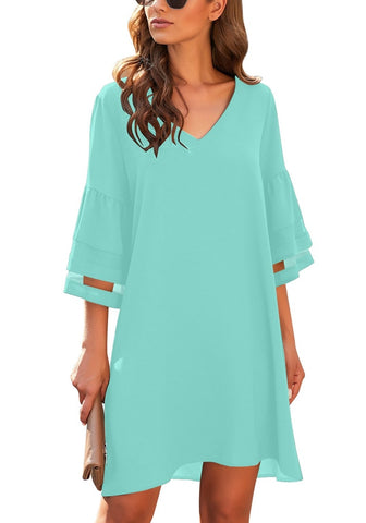 Sky Blue 3/4 Bell Mesh Sleeves V-Neck Mini Shift Dress