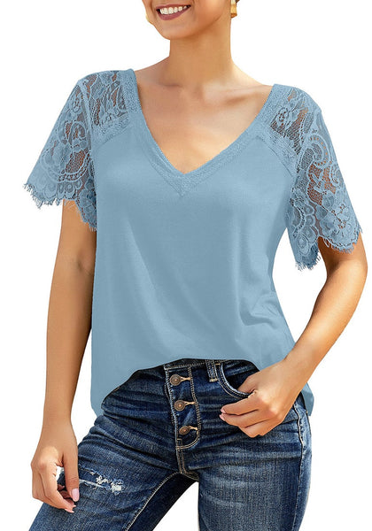 Front view of model wearing sky blue crochet lace short sleeves striped V-neckline top