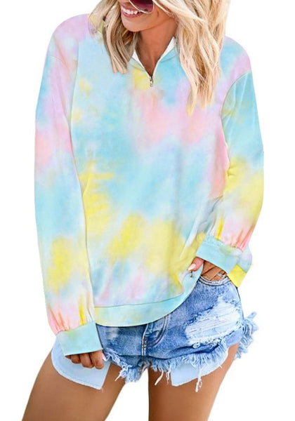 Front view of model wearing sky blue stand collar half-zip tie-dye pullover sweatshirt