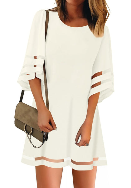 Front view of model wearing white 34 bell sleeves mesh panel crew-neckline loose dress