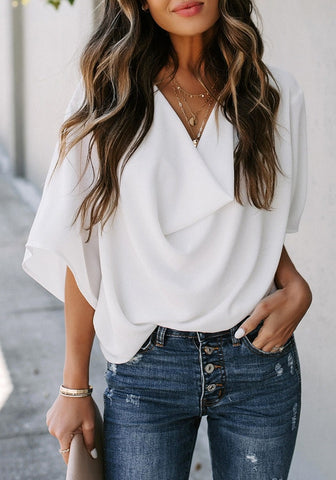 White Cowl Neckline Batwing Sleeves Loose Chiffon Top