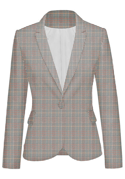 Front view of pink plaid back-slit notched lapel blazer's image