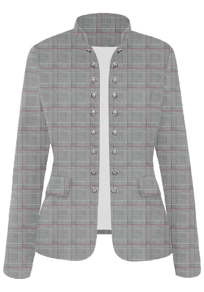 Front view of red plaid stand collar open-front blazer's image