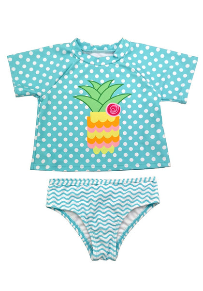 Front view of sky blue pineapple-print polka dot baby rash guard set's 3D image