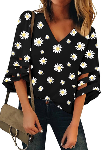 Black  V-Neck Mesh Panel Blouse 3/4 Bell Sleeve Loose Floral Top
