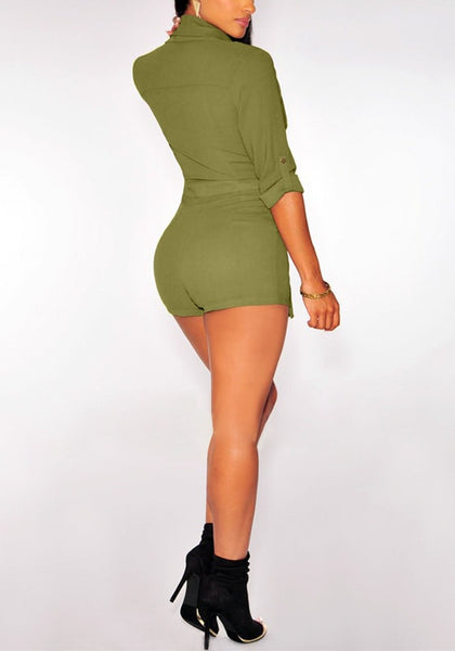 Full back of moss green suit-style chiffon romper