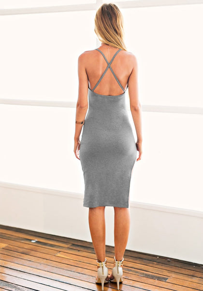 Full back view of model in a grey side-slit cami dress
