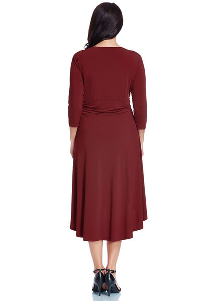 Full back view of model in burgundy ruched high-low dress