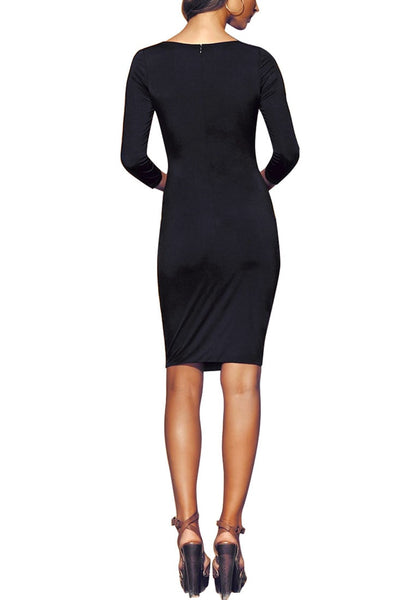 Full body back shot of model in black lace-up cut out midi dress