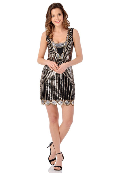 Full body front of model wearing black scallop hem sequined flapper dress