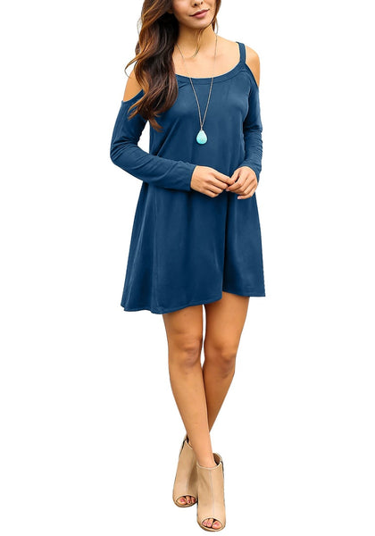 Full body front shot of blue cold-shoulder tunic dress