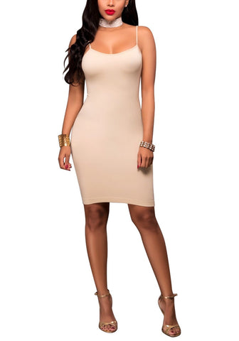Beige Cami Bodycon Dress
