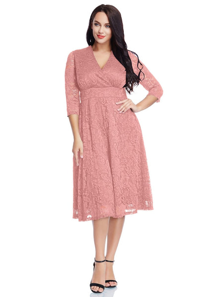 Full  body front shot of model wearing plus size old rose lace surplice midi dress