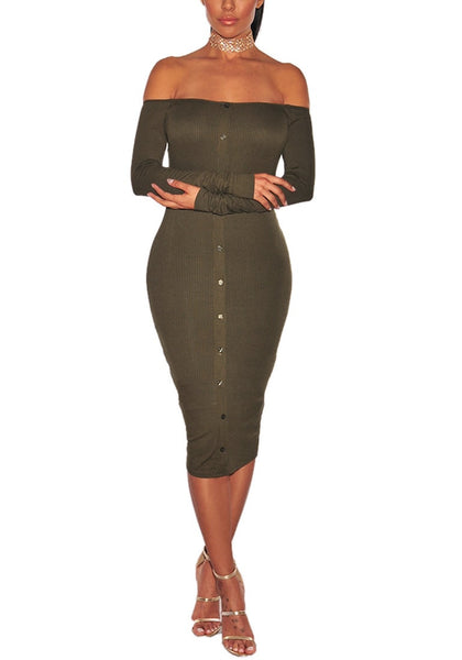 Army Green Ribbed Knit Faux Button Off-Shoulder Dress