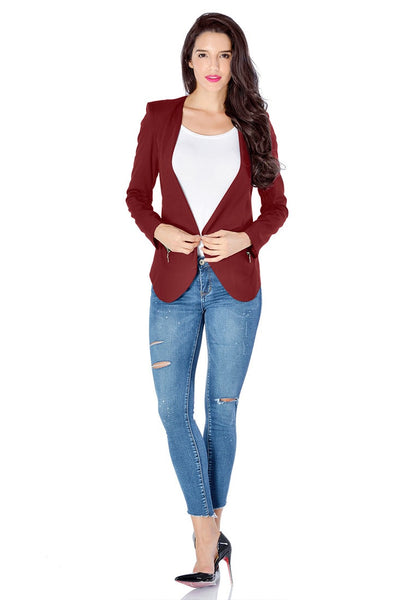 Full body shot of model in burgundy draped blazer