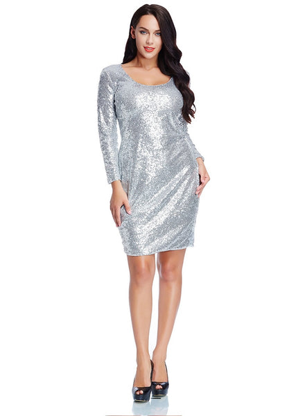 Full body shot of model in plus size silver sequined party dress