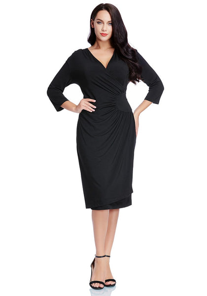Full body shot of model wearing black side-patch wrap midi dress