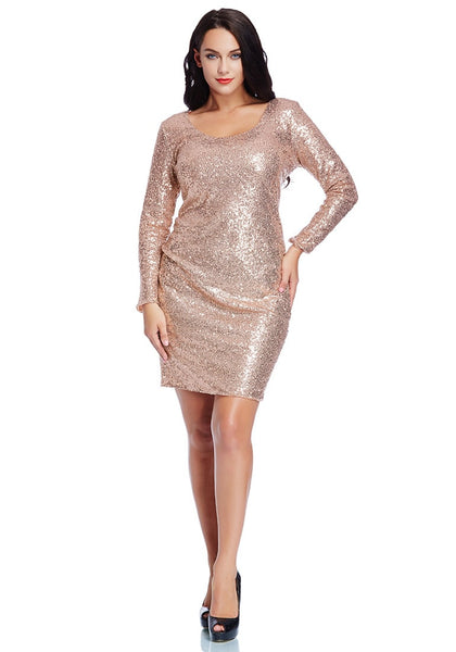 Full body shot of pretty model wearing plus size champagne sequined party dress