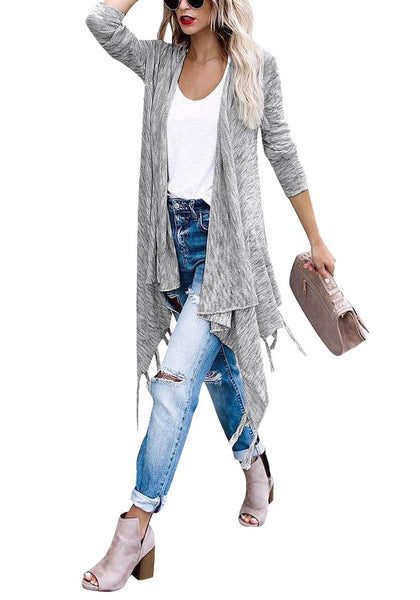 Full  body shot of woman in grey long sleeves knitted open front tassel cardigan