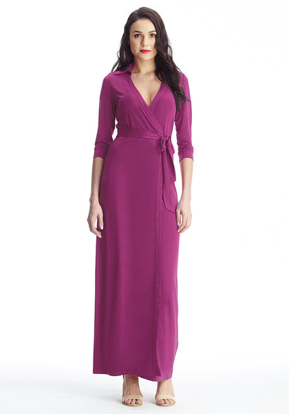 Plum Plunge Wrap Belted Maxi Dress