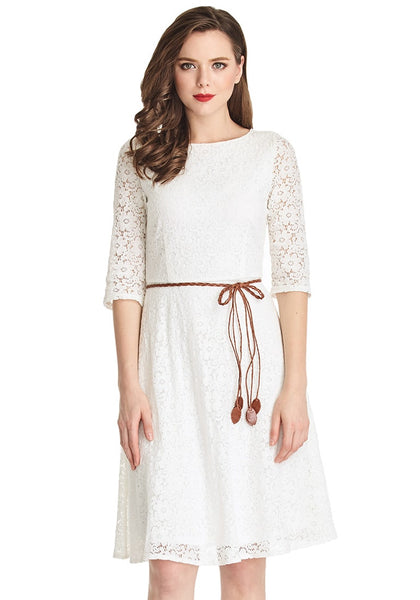 Full front shot of woman in white lace crop sleeves A-line dress