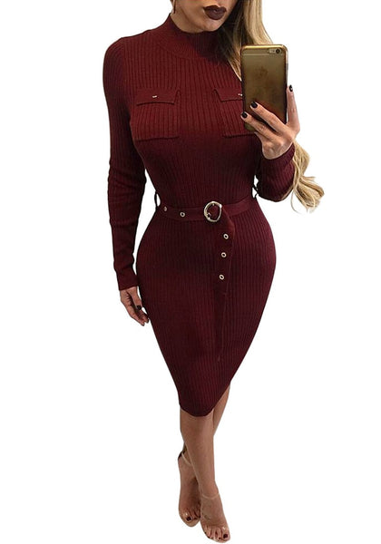 Full front view of blonde model wearing maroon mock neck belted ribbed midi dress