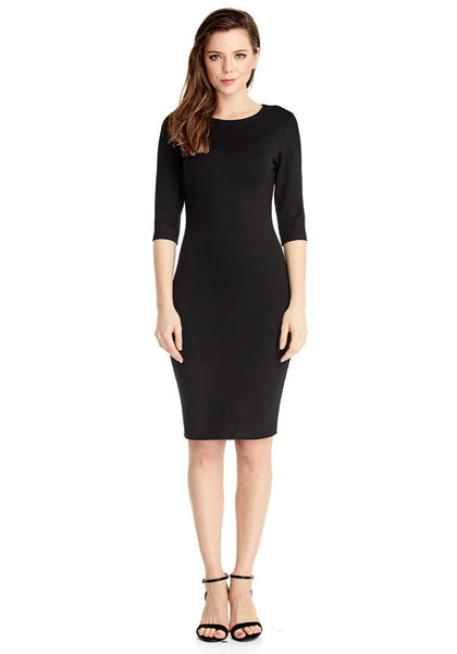 Full front view of model in black classic bodycon midi dress