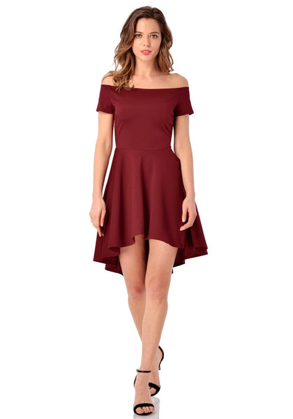 Full front view of model in burgundy off-shoulder high-low skater dress
