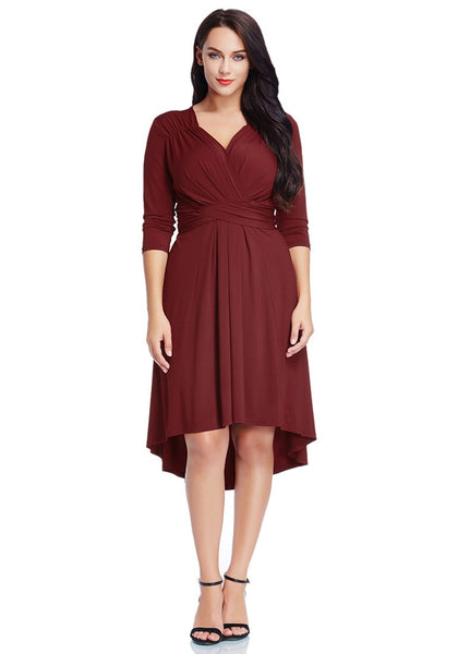 Full front view of model in burgundy ruched high-low dress