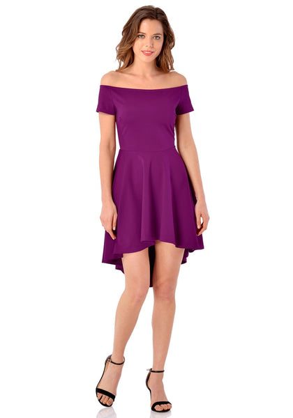 Full front view of model in deep orchid off-shoulder high-low skater dress