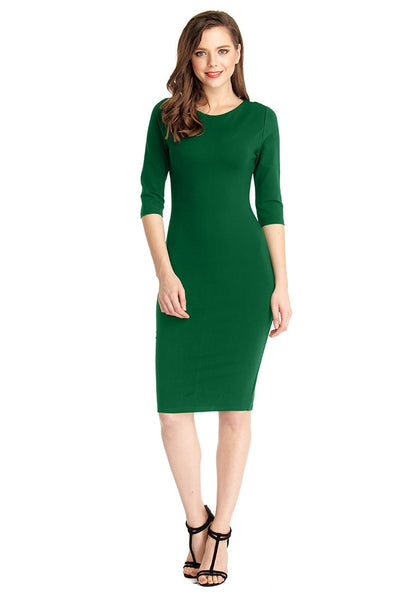 Full front view of model in green classic bodycon midi dress