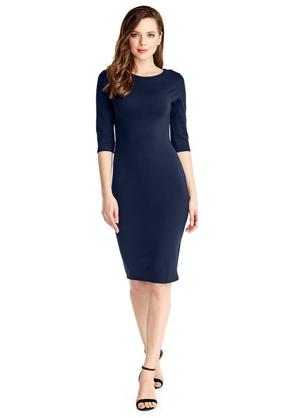 Full front view of model in navy classic bodycon midi dress