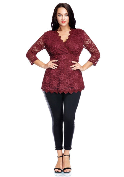 Full front view of model in plus size burgundy lace scallop blouse