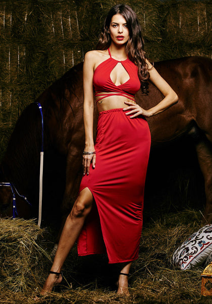 Full front view of model in red keyhole halter dress